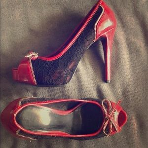 Guess red high heels